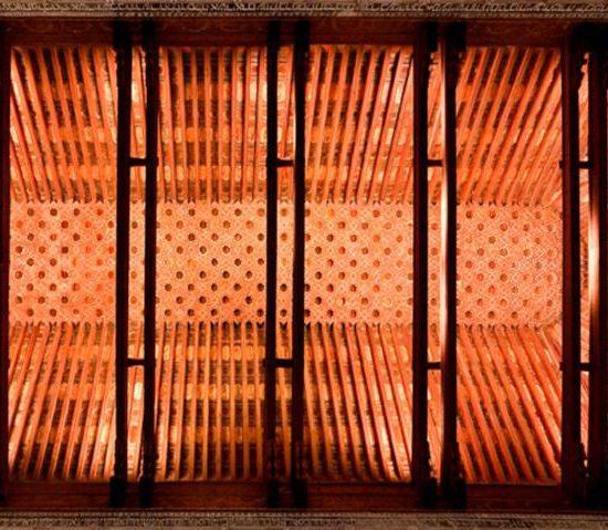 Cubierta de par y nudillo de la Sinagoga del Tránsito de Toledo